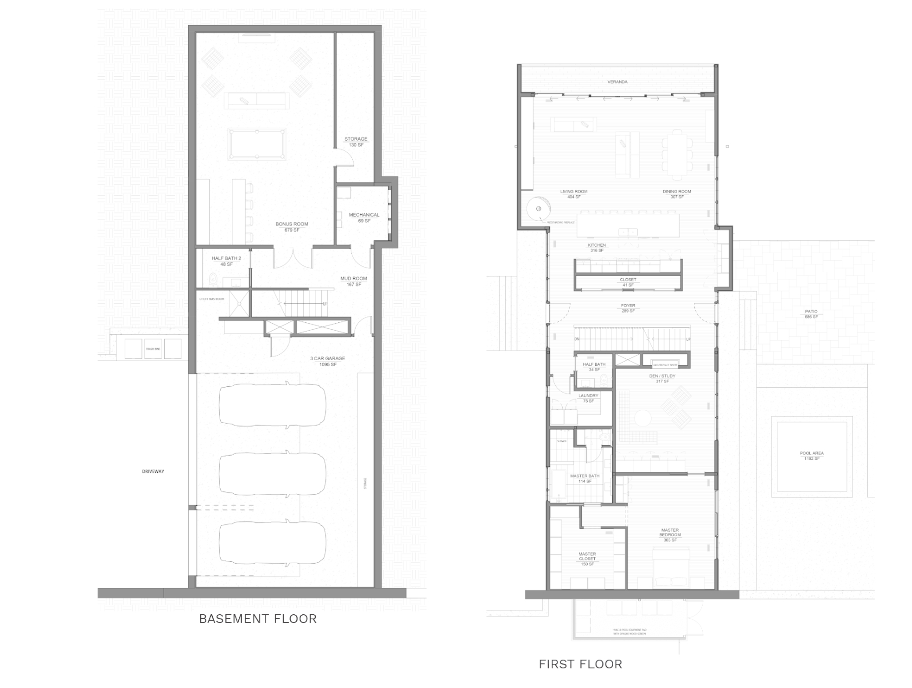 floorplan of basement and first floor